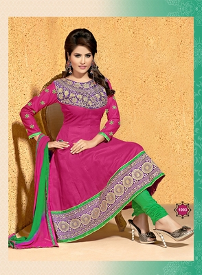 Rani Pink Cotton Embroidered Anarkali Salwar Suit Dress Material