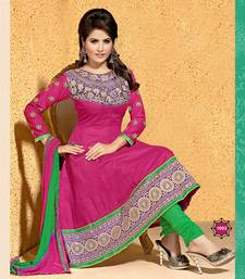 Buy rani pink embroidered Cotton Anarkali unstitched salwar with dupatta anarkali-salwar-kameez online