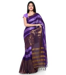 Buy Purple hand woven cotton silk saree with blouse handloom-saree online