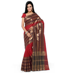 Buy Red hand woven cotton silk saree with blouse handloom-saree online