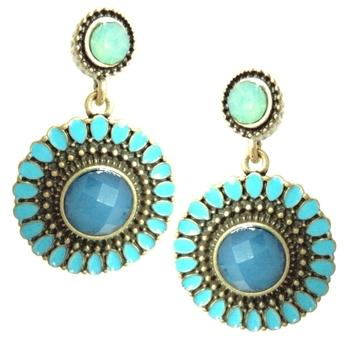 Blue Sun Flower Drop Earrings(CFE0075)