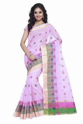 Purple embroidered kota silk saree with blouse