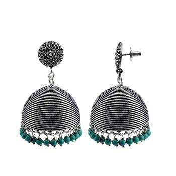 Turquoise Earrings-Round Studs Jhumkai -Silver Tribal Jhumkis-Indian Jewellery