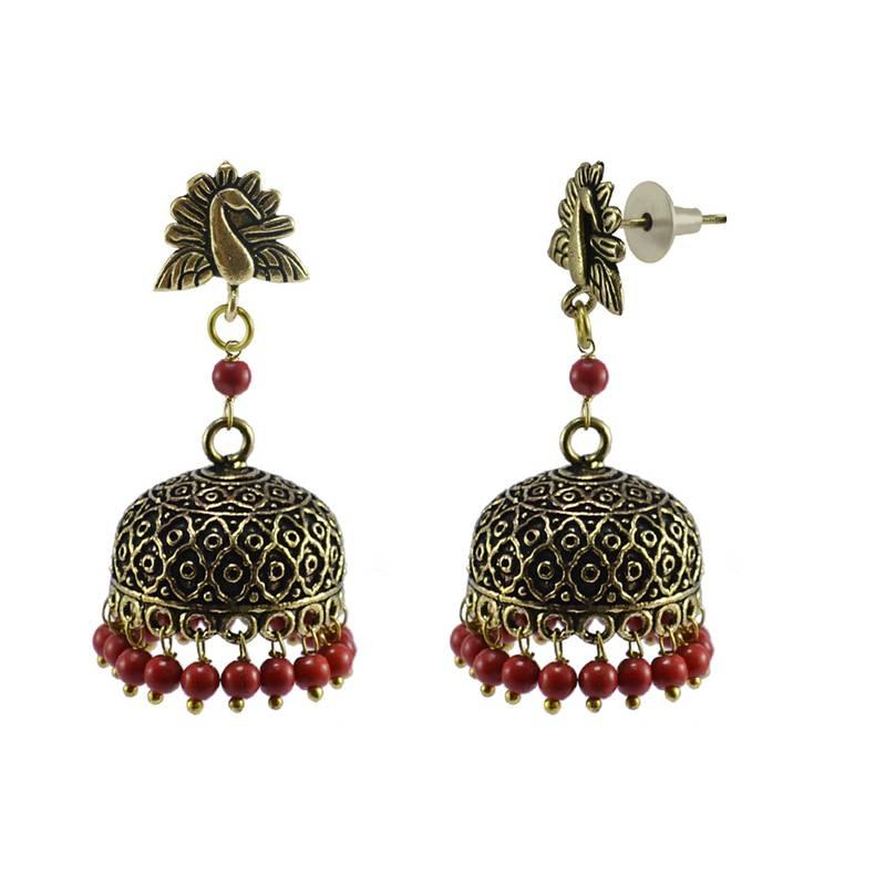 Kanjivaram Beads: Indian Earrings Peacock Jhumka With Hanging Treated Coral