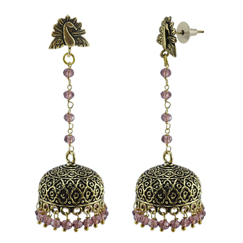 Ethnic Temple Oxidized Amethyst Crystal Beads Earrings With Silver Plated Peacock Jhumki-
