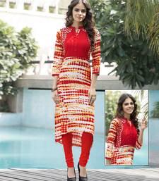 Buy Orange embroidered cotton party wear kurtis party-wear-kurti online