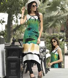 Buy Green printed cotton party wear kurtis party-wear-kurti online