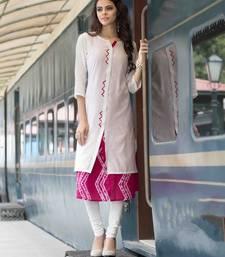 Buy White printed cotton party wear kurtis party-wear-kurti online