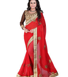 Buy Red embroidered georgette saree with blouse traditional-saree online