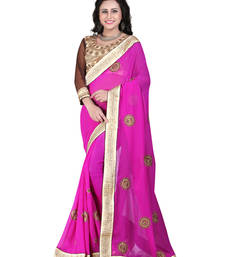 Buy Pink embroidered georgette saree with blouse traditional-saree online