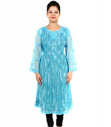 Buy Turquoise embroidered georgette party-wear-kurtis party-wear-kurti online