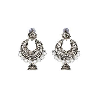 Silver Plated Drop Oxidised Earrings