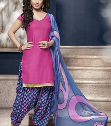 Buy Pink glaze cotton printed unstitched salwar with dupatta punjabi-suit online