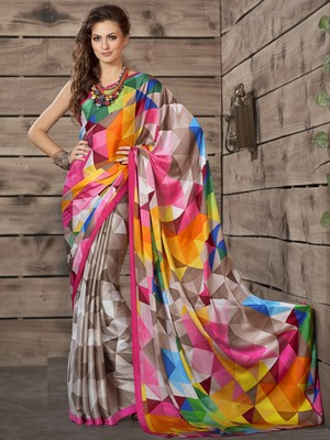 2dc752236a9aa Multicolor printed crepe saree with blouse - Vastrang - 1608443