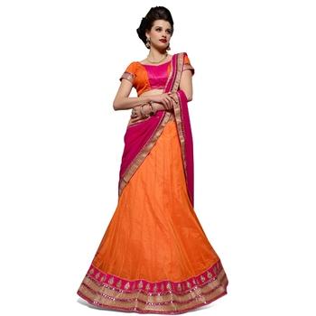Orange net embroidered unstitched lehenga choli