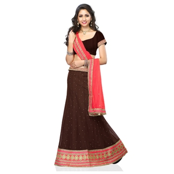 Choclate brown net embroidered unstitched lehenga choli