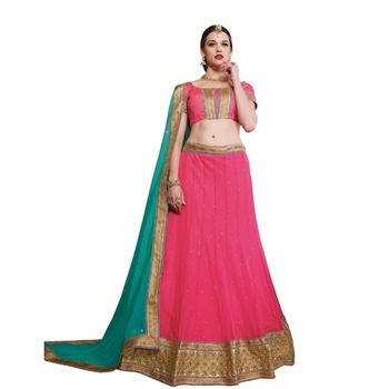 Pink net embroidered unstitched lehenga choli