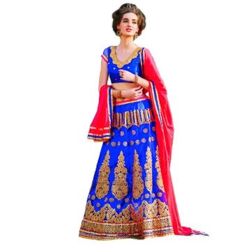 Blue net embroidered unstitched lehenga choli