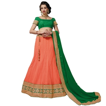 Orange net embroidered unstitched lehenga choli