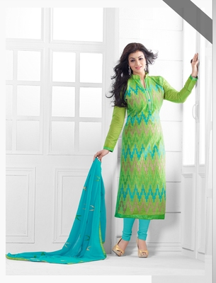Light Green Chanderi Embroidered Straight Suit Dress Material