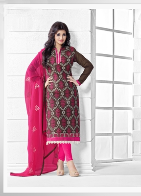 BROWN CHANDER EMBROIDERED STRAIGHT SUIT DRESS MATERIAL