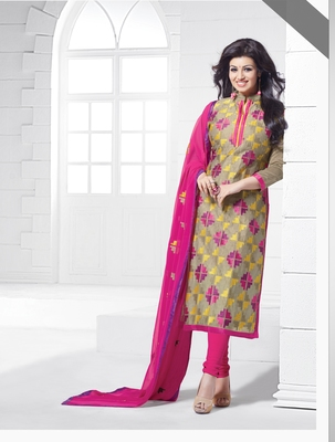 Beige Chanderi Embroidered Straight Suit Dress Material