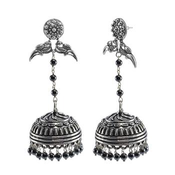 Ethnic Oxidized Parrot Jhumki Earrings Contrast With Sleek Globes Of Hematite Beads Jewellery