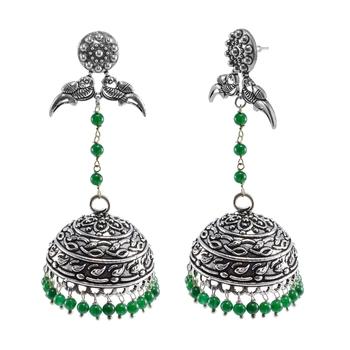 Oxidized Metal Green Quartz Parrot Jhumki Earrings-Tribal Jewellery