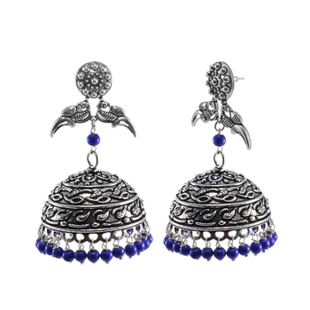 Oxidized Parrot Jhumki With Reconstituted Lapis Beads Earrings-Jaipuri Night Jewellery