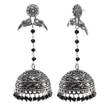 Black Crystal Beads With Parrot Jhumki Earrings - Indian Jewellery