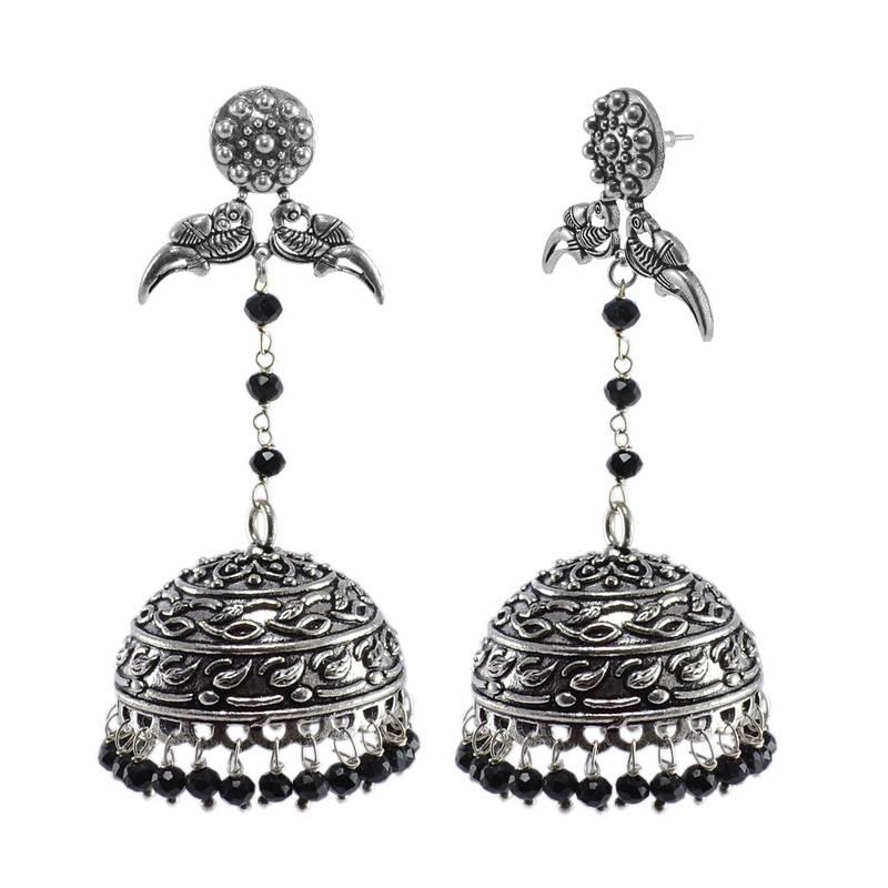 Kanjivaram Beads: Large Vintage Jewellery Danglers With Black Crystal Beads