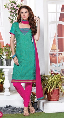 Light green chanderi embroidered unstitched salwar with dupatta