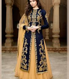 Buy navy blue embroidered cotton_silk semi stitched salwar with dupatta semi-stitched-salwar-suit online