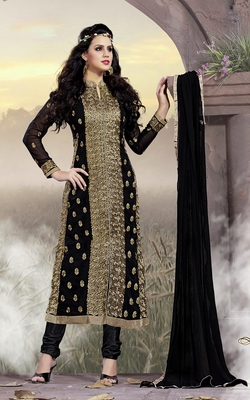 Black Georgette Embroidered Salwar Suit Material