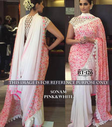 Buy White embroidered georgette saree with blouse sonam-kapoor-saree online