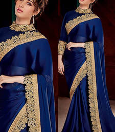 Buy Navy blue embroidered silk saree with blouse bollywood-saree online