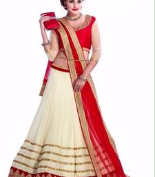 Buy Fashionlife Off-white and red georgette attractive lehenga choli indowestern online
