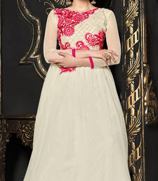Buy White embroidered net semi stitched party-wear-gowns evening-wear-dress online
