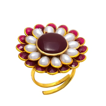 Maroon White Pacchi Work Ring