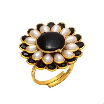 Black White Onyx Pearl Pacchi Work Ring