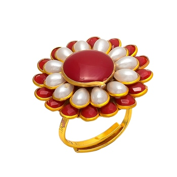Red White Onyx Pearl Pacchi Work Ring