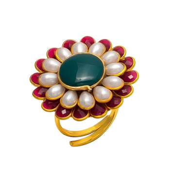 Maroon Green White Pacchi Work Ring