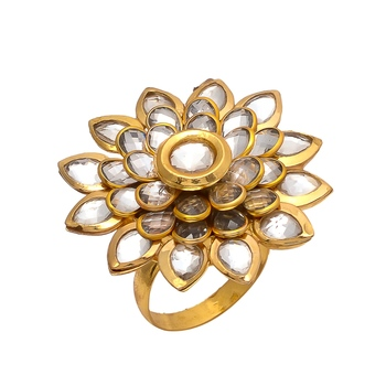 Gold Kundan Pacchi Work Ring