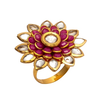 Pink Golden Kundun Pacchi Work Ring