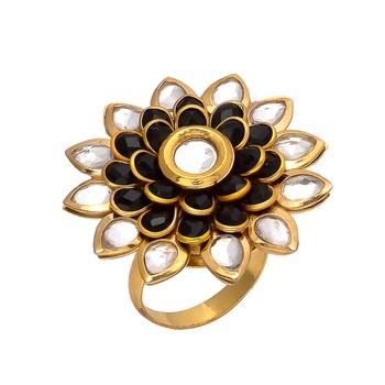 Black Golden Kundan Pacchi Work Ring