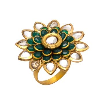 Green Golden Kundan Pacchi Work Ring