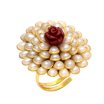 Red White Pearl Pacchi Work