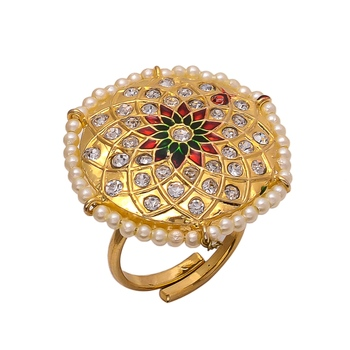 Golden Jadau Enamel Work Ring