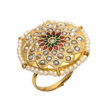 Golden Jadau Enamel Work Pearl  Ring