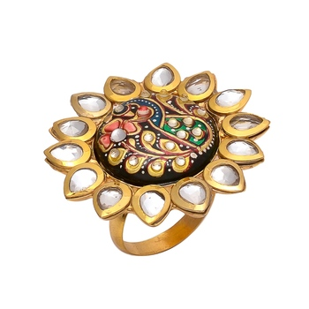 Multicolor Tanjore Work Kundan Ring